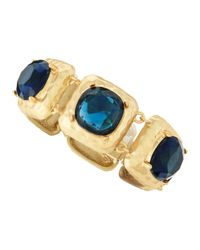 Kenneth Jay Lane | Blue Faceted Golden Bracelet | Lyst