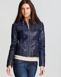 Michael Kors | Blue Color Moto Jacket | Lyst