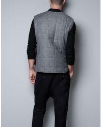 Zara | Gray Herringbone Waistcoat for Men | Lyst