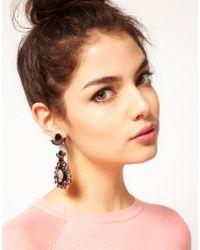 ASOS - Black Cameo Jewel Doorknocker Earrings - Lyst