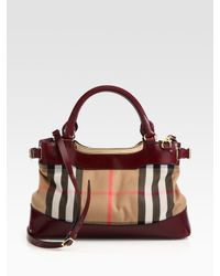 Burberry | Red Hepburn Mixedmedia Tote | Lyst