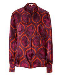 Sophie Theallet | Deep Purple Baroque Print Mao Satin Shirt | Lyst