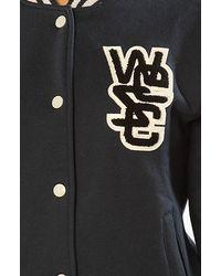 Wesc | Blue The Laika Fleece Varsity Jacket in Navy | Lyst