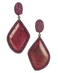 Yossi Harari - Purple Lilah Ruby Slice Earrings - Lyst