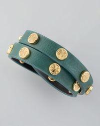 Tory Burch - Green Logo Studded Saffiano Wrap Bracelet  - Lyst