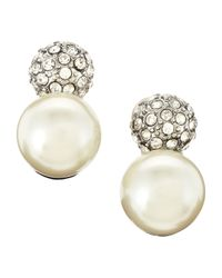 Kenneth Jay Lane | Metallic Pave Pearly Clipon Earrings | Lyst