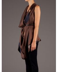 Gustavo Lins - Brown Plunge Neck Draped Blouse - Lyst
