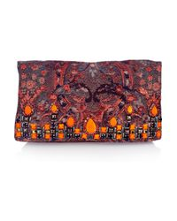 Matthew Williamson | Red Embellished Brocade and Suede Clutch | Lyst