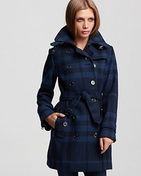 Burberry | Blue Brit Double Breasted Belted Check Print Wool Coat | Lyst