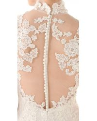 Marchesa - White Lace Gown with Illusion Neckline - Lyst