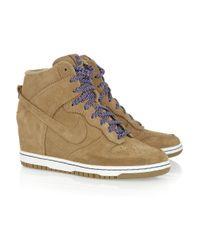 Nike - Brown Dunk Sky Hi Suede Wedge Sneakers - Lyst