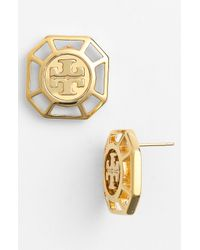 Tory Burch | Metallic Audrina Logo Earrings Golden | Lyst