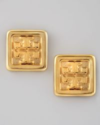 Tory Burch | Metallic Square Logo Stud Earrings | Lyst