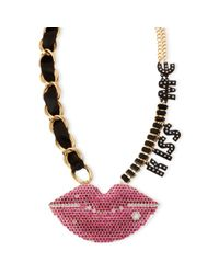 Betsey Johnson - Goldtone Black Kiss Me Frontal Necklace - Lyst