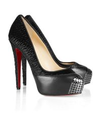 Christian Louboutin - Black Maggie 140 Leather Trimmed Calf Hair Pumps - Lyst