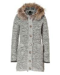 Peuterey | Gray Light Grey Heather Wool Montezuma Cardigan with Fur Trim | Lyst