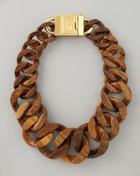 Tory Burch | Brown Graduated Wooden Chain Necklace | Lyst