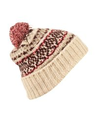 TOPSHOP - Pink Fairisle Hat - Lyst