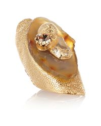 Saint Laurent | Metallic Chyc Agate and Crystal Ring | Lyst