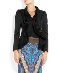 Etro | Black Ruffle Paneled Textured Brocade Jacket | Lyst