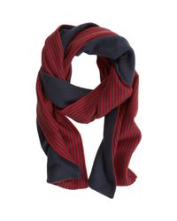 Armand Diradourian - Red Reversible Solid Striped Scarf for Men - Lyst