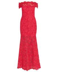 Marchesa - Purple Bateau Neck Lace Gown - Lyst