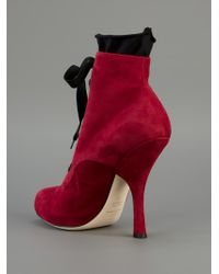 Dolce & Gabbana - Red Lace Up Boot - Lyst
