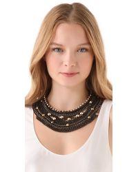 Iosselliani - Black Rhinestones Studs Statement Necklace - Lyst