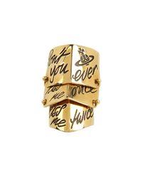 Vivienne Westwood - Metallic Kiss Me Twice Armour Ring - Lyst