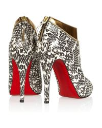 Christian Louboutin - Metallic Leather and Water Snake Ankle Boots - Lyst