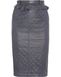 Preen Line - Blue Quilted Leather Pencil Skirt - Lyst