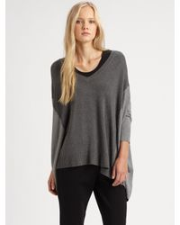 Eileen Fisher - Gray Dolman Knit Top - Lyst
