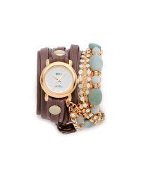 La Mer Collections - Brown Venetian Stones Wrap Watch - Lyst