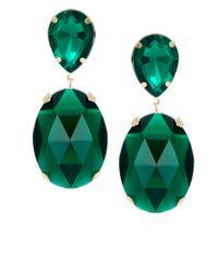 ASOS - Green Gem Drop Earrings - Lyst