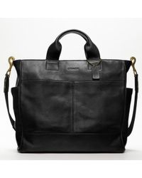 COACH   Black Bleecker Legacy Leather Utility Tote for Men   Lyst