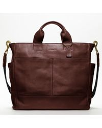COACH - Brown Bleecker Legacy Leather Utility Tote for Men - Lyst