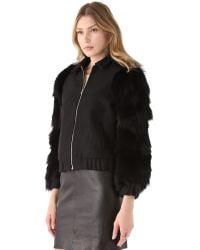 Antipodium - Black Vyner Fur Sleeve Bomber Jacket - Lyst