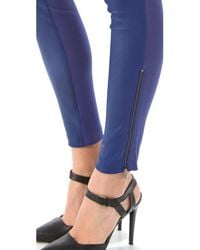 Catherine Malandrino - Blue Zip Up Leather Pants - Lyst