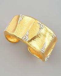 Jose & Maria Barrera | Metallic Crystal-detailed Gold Cuff | Lyst
