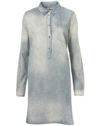 TOPSHOP | Blue Moto Denim Shirt Dress | Lyst