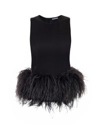 Alexander McQueen | Black Feather trimmed Top | Lyst