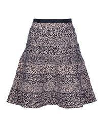 Hervé Léger - Black Animal Print Circle Skirt - Lyst