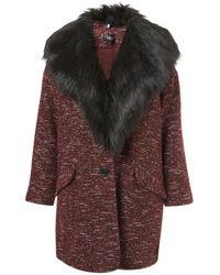 Topshop | Textured Fur Collar Boyfriend Coat | Lyst