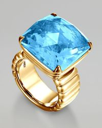John Hardy | Gold Princesscut Ring Blue Topaz | Lyst