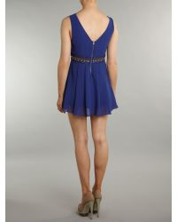 TFNC   Blue Embellished Waist Sleeve Dress   Lyst