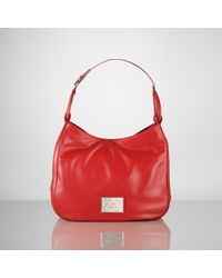 Ralph Lauren Collection | Red Nappa Stirrup Large Hobo | Lyst