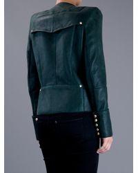 Balmain | Green Lamb Skin Jacket | Lyst