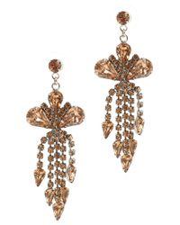 Tom Binns - Metallic Bronze Crystal Drop Earrings - Lyst