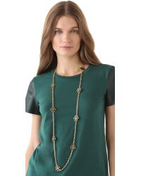 Tory Burch | Black Walter Rosary Necklace | Lyst