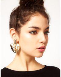 ASOS - Metallic Shield Doorknocker Earrings - Lyst